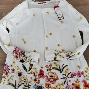 S. OLIVER Floral Open Sleeve Blouse